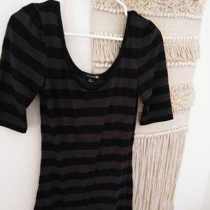 Grey and Black Striped 3/4 Dress Tunic Large